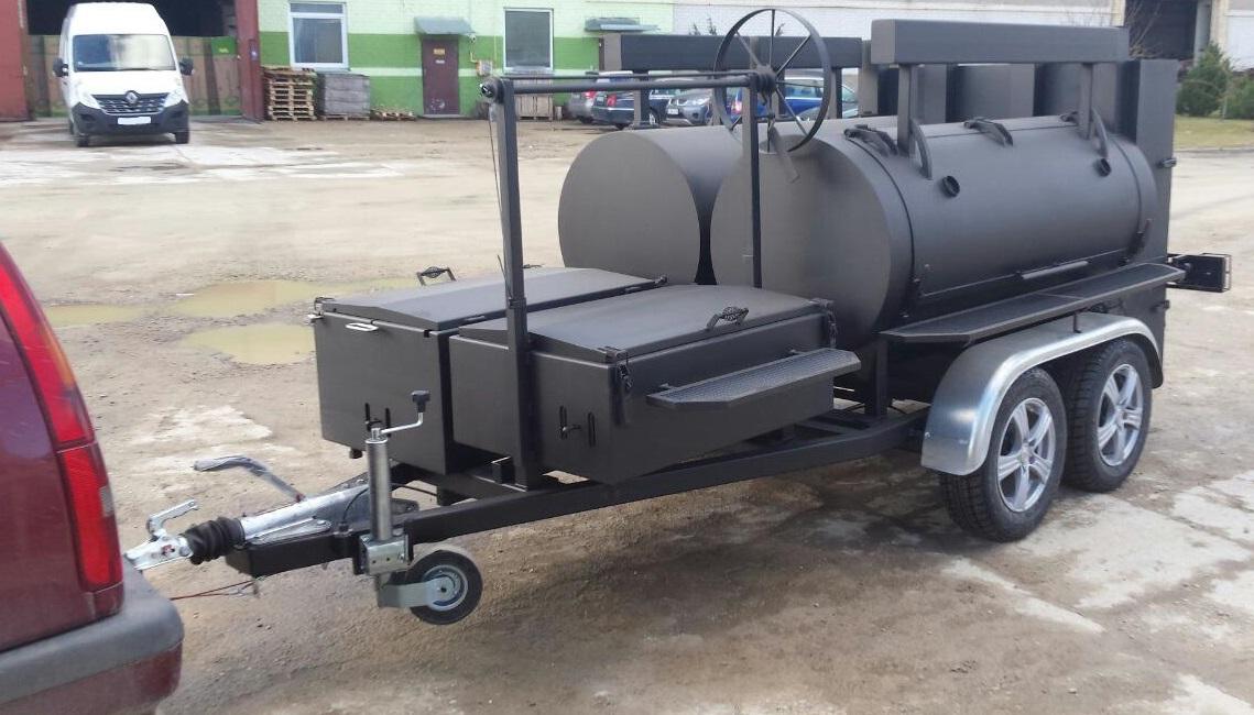 """BMD-3""  reverse flow dual chamber  BBQ trailer"